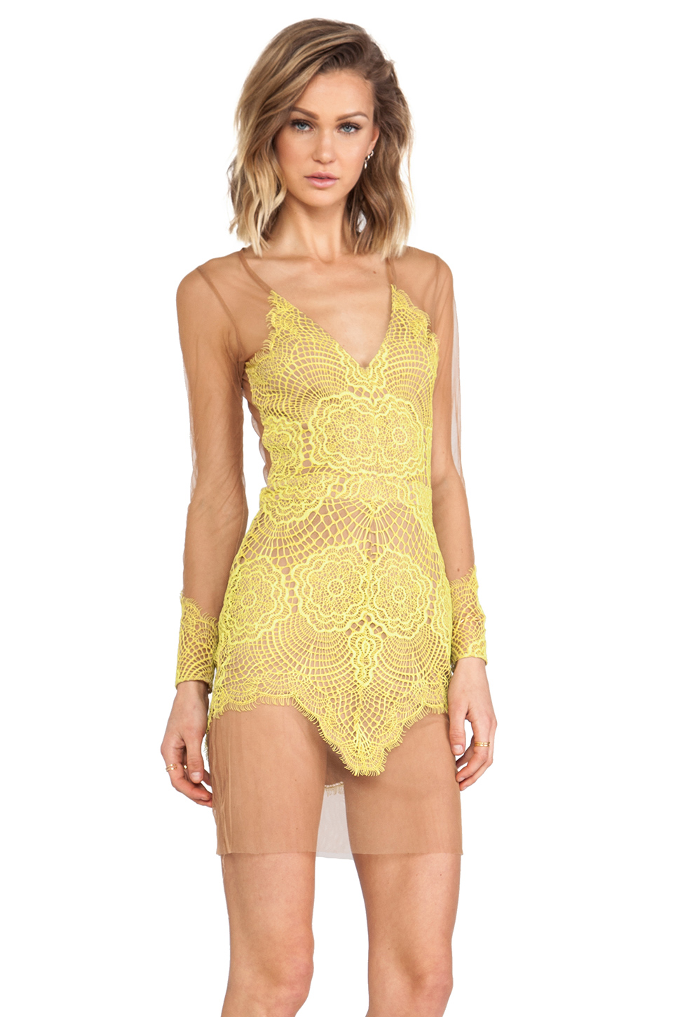 For Love & Lemons Antigua Mini Dress in Chartreuse | REVOLVE