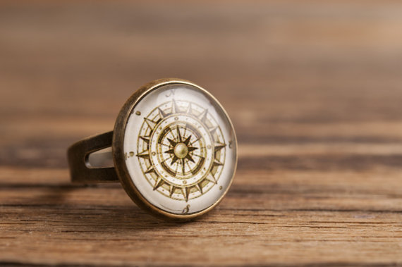 Vintage compass ring adjustable ring statement ring by SomeMagic
