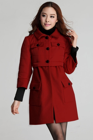 Three Quarters Sleeves Quilted Coat [FEBK0436]- US$74.99 - PersunMall.com