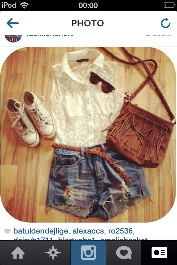 tank top bag shorts shoes sunglasses