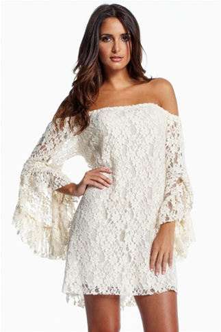 Cream Lace Off-The-Shoulder Tunic Top/Mini Dress