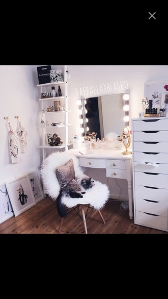 home accessory accessories desk makeup table chair girly sheepskin sheepskin throw berber pelt works