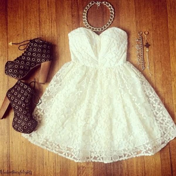 dress white dress jeffrey campbell lace dress necklace short party dresses high heels shoes