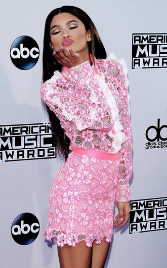 dress zendaya lace pink bright pink short american music awards award show awards floral net high neck long sleeves pink dress netted dress long sleeve dress amas 2015