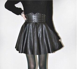skirt leather skirt skater skirt rivet black gold rivets