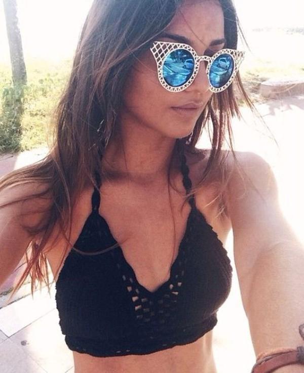 swimwear crotchet bikini crotchet bralet black bikini black black bikini top cool sunglasses sunglasses retro sunglasses round sunglasses blue sunglasses boho top