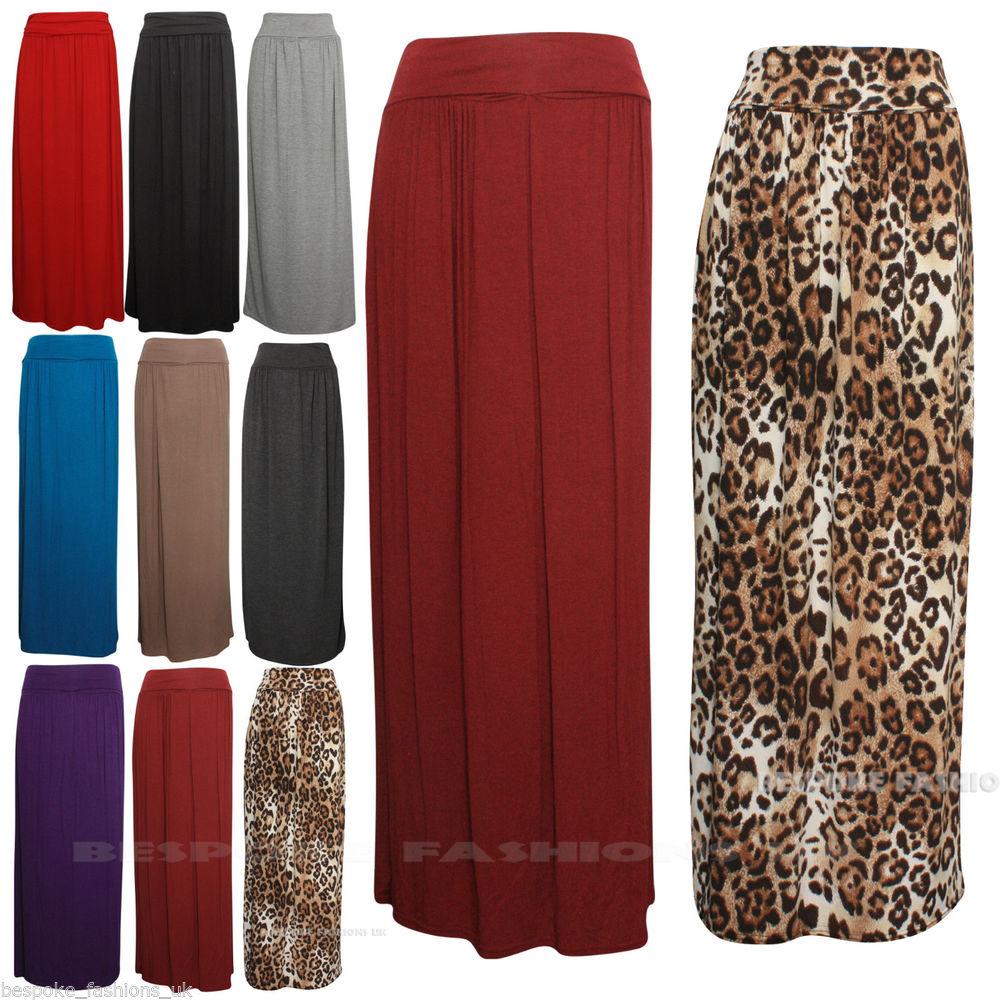 New Womens Celeb Fold Over Waist Full Length Jersey Ladies Maxi Skirt Size SM Ml   eBay