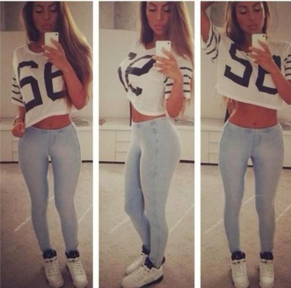 shirt pants shoes jeans t-shirt crop tops v neck light blue skinny jeans grape5 jersey shirt