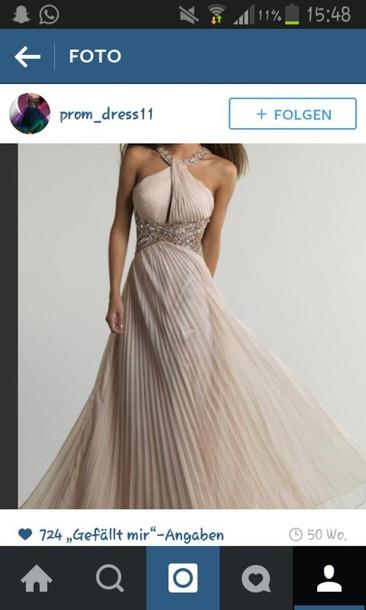 dress prom dress beige glitter long neckholder