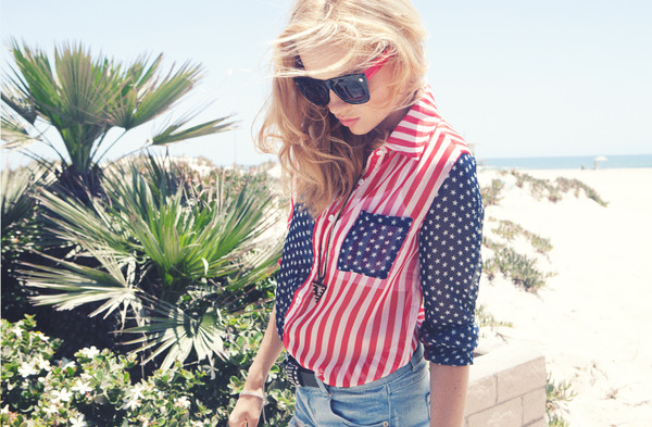 blouse american flag button up blouse