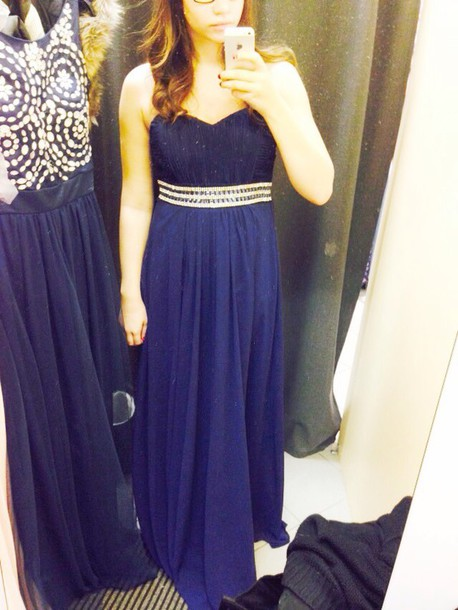 dress dark blue crystal belt