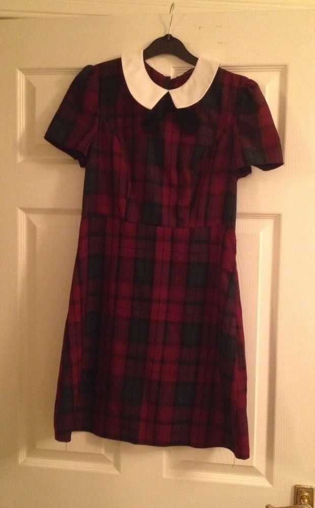 Primark Berry Tartan Checked Dress Peter Pan Collar Pussy Bow Size 12 BNWT | eBay