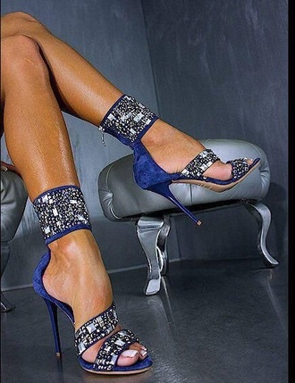 shoes cobalt strappy heels rhinestones heels blue heels suede