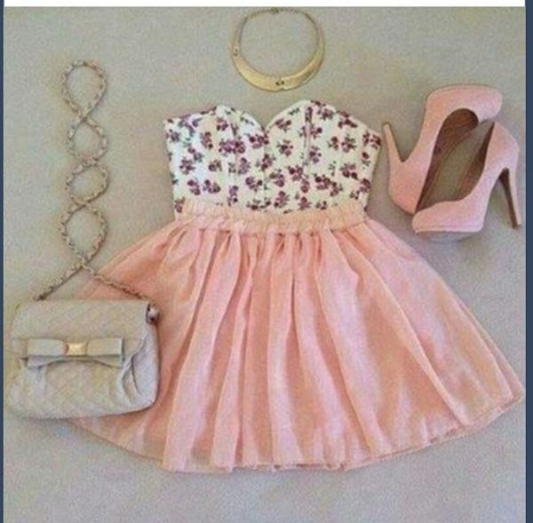 shirt floral skirt jewels shoes bag