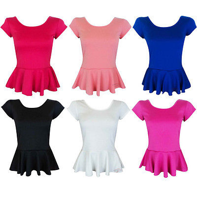 Womens Short Sleeves Peplum Skater Bodycon Top Dress Ladies T Shirt Vest 8-14 | eBay