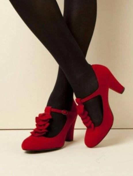 shoes red heels black heels