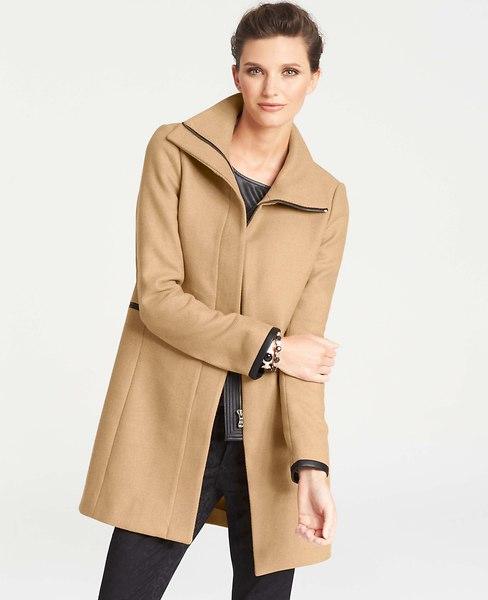 Faux Leather Trim Wool Blend Coat   Ann Taylor