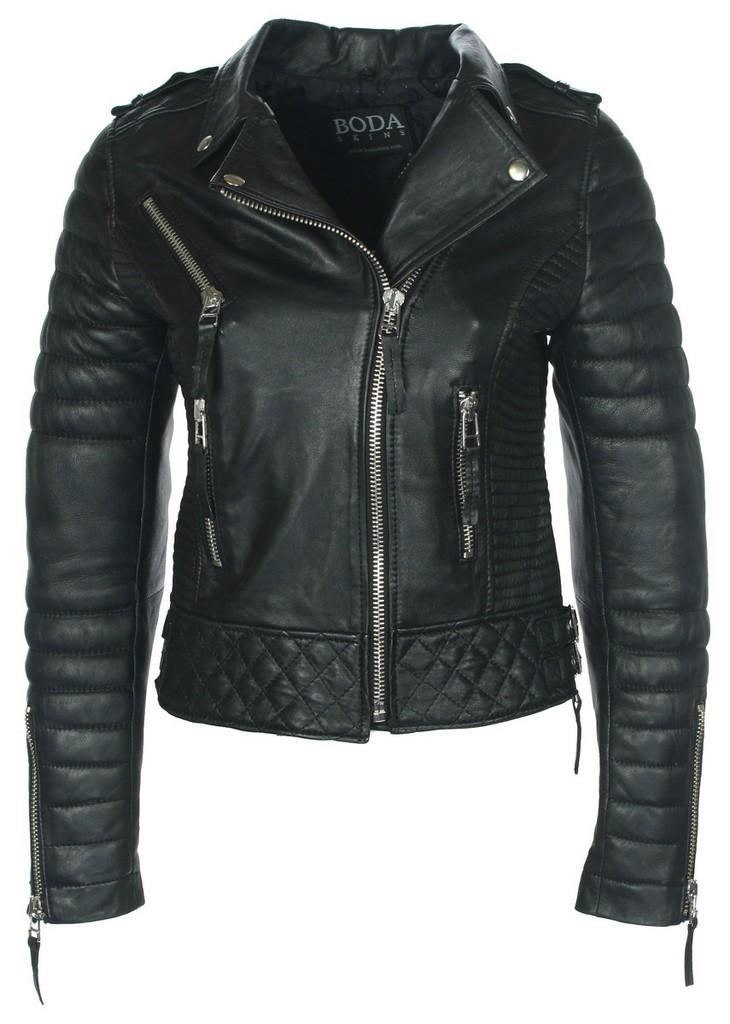 Kay Michaels Oil Black Quilted Biker Jacket - Boda Skins