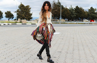 madame rosa blogger cut out ankle boots cardigan folk scarf pants shoes belt