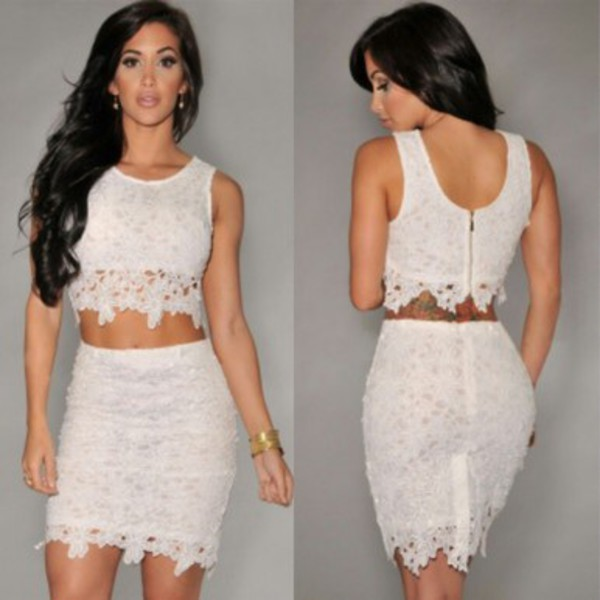 dress two-piece set outfit matching lace
