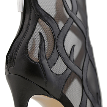 Inferno black leather bootie