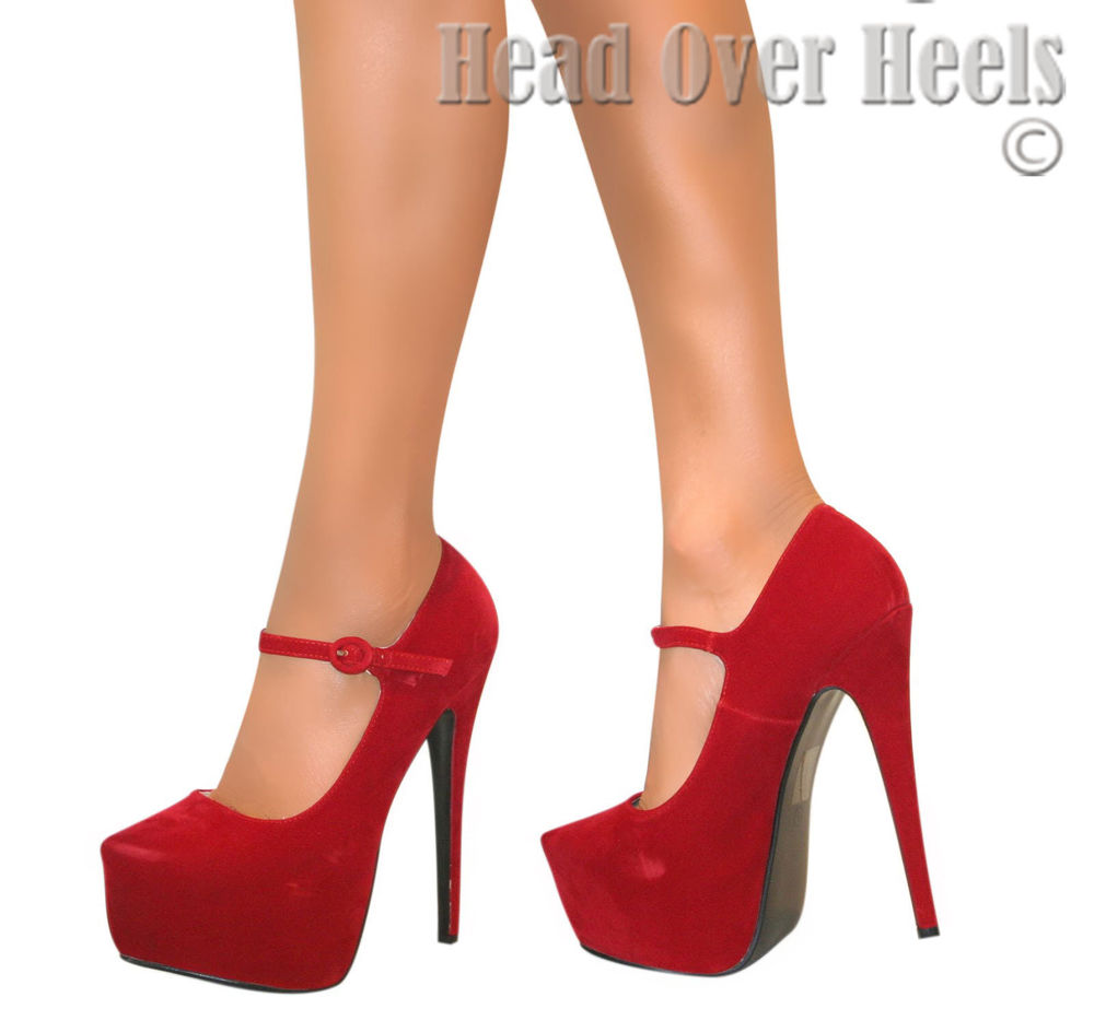 Womens Red Mary Jane Platform Stiletto High Heels Court Strappy Shoes Size 3 8 | eBay