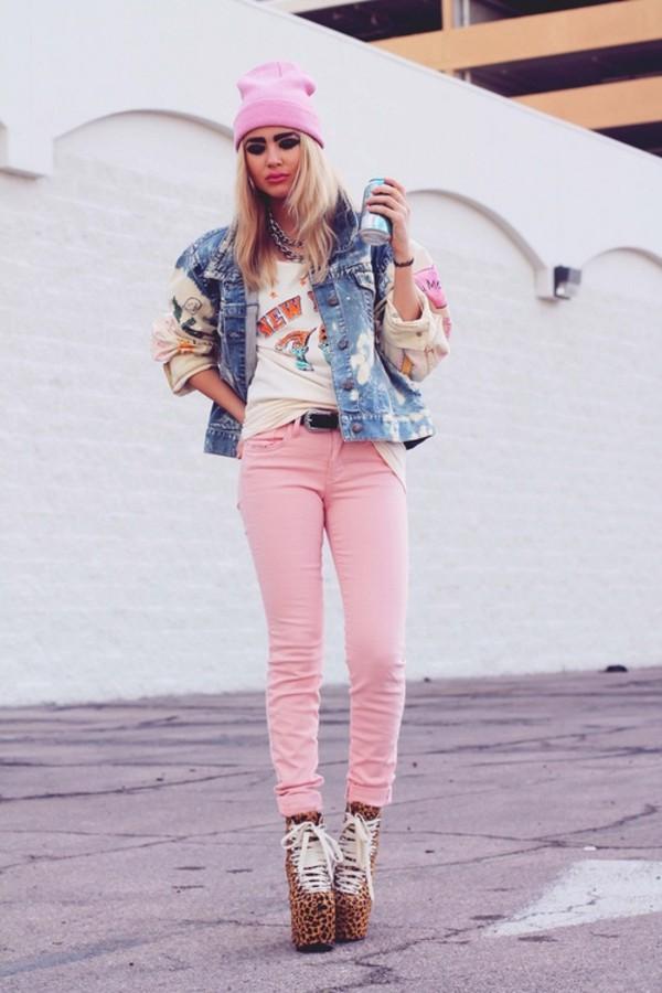 jacket jeans belt denim jacket shirt beanie high heels jewelry hat shoes