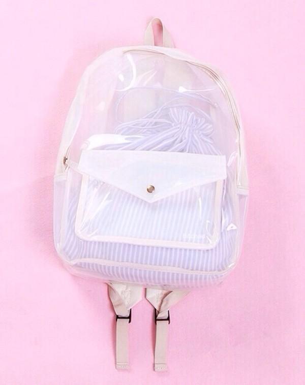 bag white clear transparent transparent  bag backpack