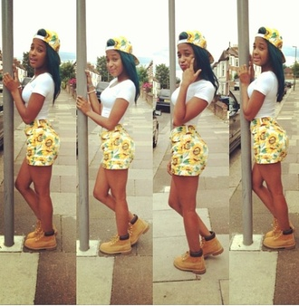 shorts baddies yellow daisy summer outfits shawty summer time fine hat shirt shoes