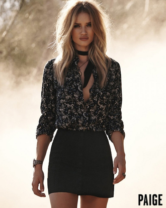 skirt blouse mini skirt rosie huntington-whiteley editorial