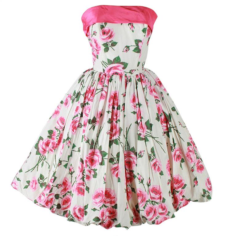 Vintage 1950's Pink Roses White Bubble Hem Strapless Dress at 1stdibs