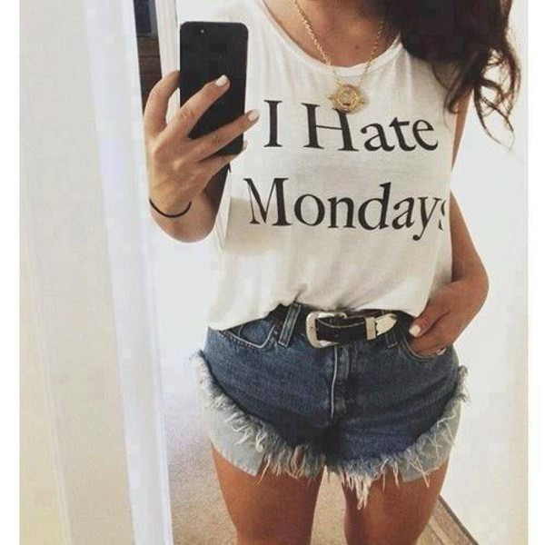 t-shirt i hate monday shorts