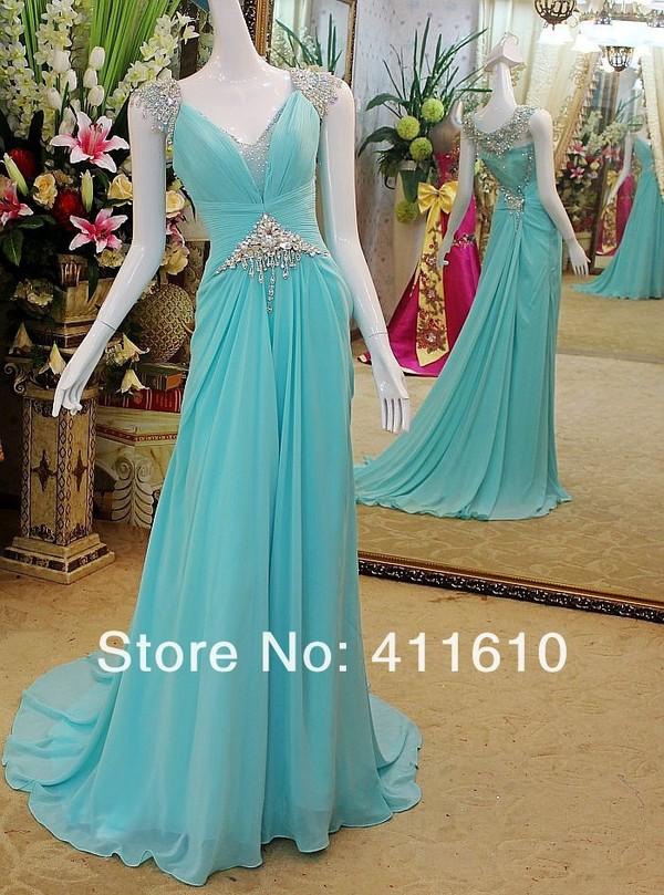 dress real rhinestones evening dress blue dress chiffon dress evening dress party dress sexy party dresses