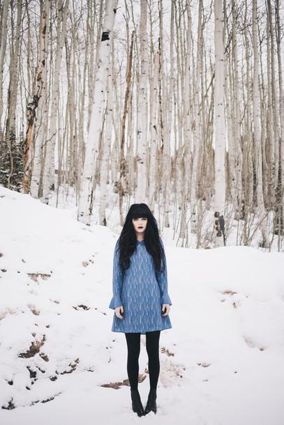 jag lever blogger collared dress blue dress long sleeve dress dress shoes