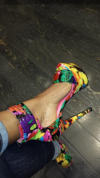 shoes floral print shoes high heels platform shoes platform shoes