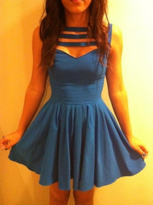 dress blue vintage cute short straps tight sweetheart blue dress cut-out