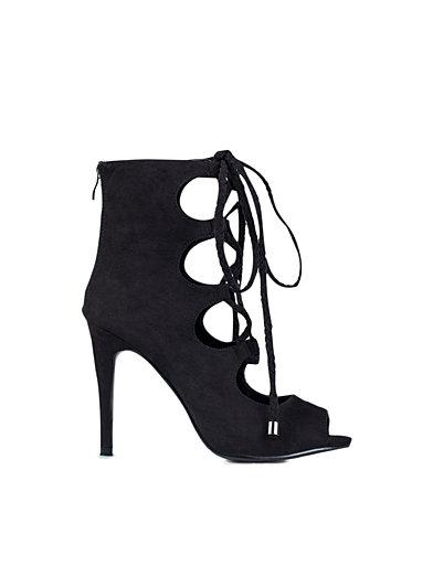 Lacing Open Toe Bootie - Nly Shoes - Svart - Festskor - Skor - Kvinna - Nelly.com