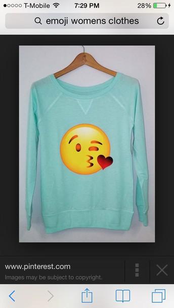 sweater emoji print mint