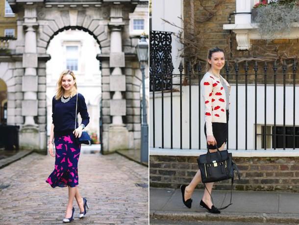 cocos tea party blogger cardigan lips satchel bag print dress sweater lip print