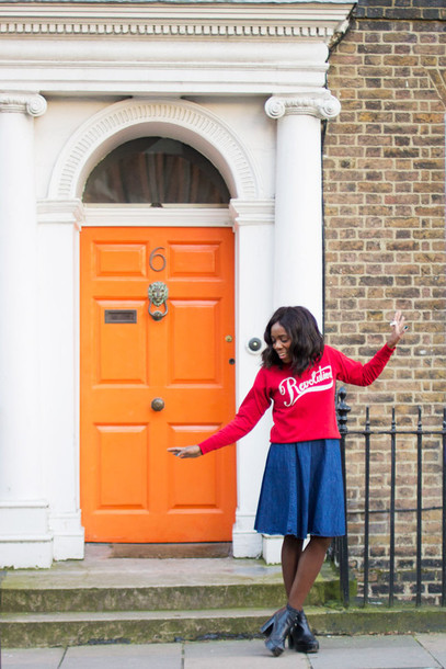i want you to know blogger red sweater denim skirt
