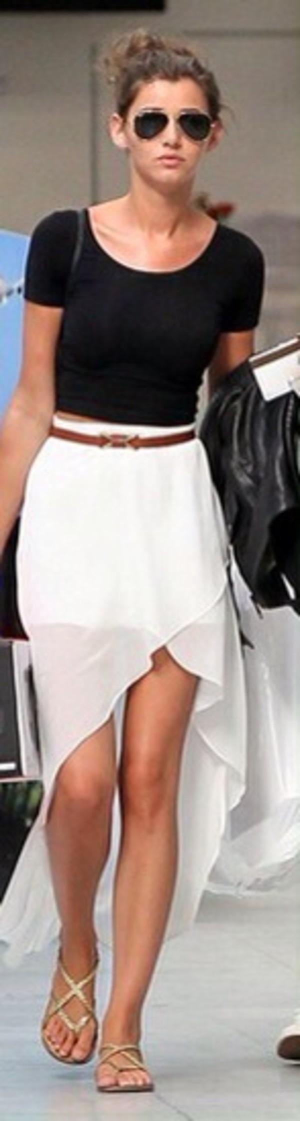 skirt eleanor calder high low skirt white skirt brown belt black crop top belt blouse shoes