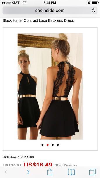 dress black semi formal dress with lace back and gold belt black gold belt open back