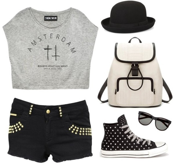 shorts outfit fashion clothes backpack shoes spring outfits pretty bag