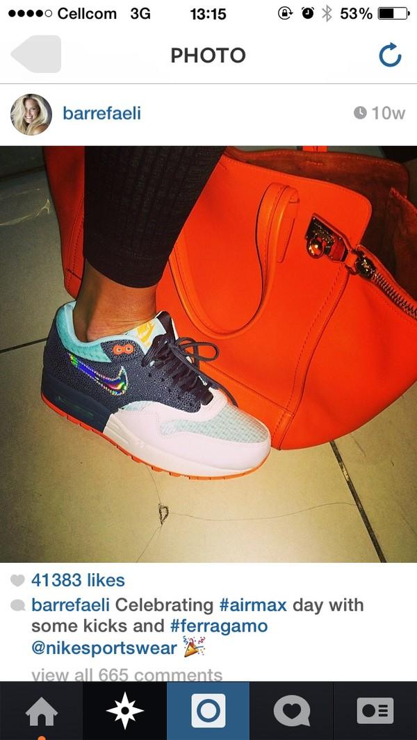 shoes air max bag bar refaeli white nike orange