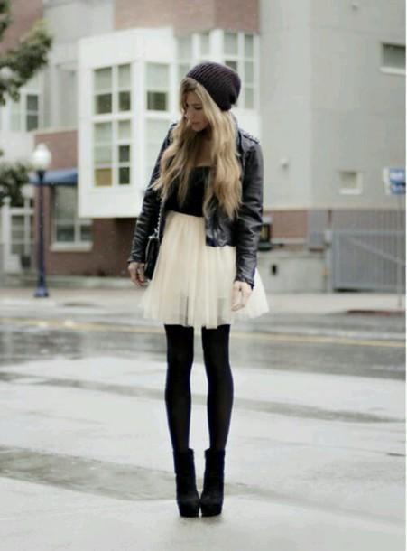 skirt tulle skirt leather jacket tights