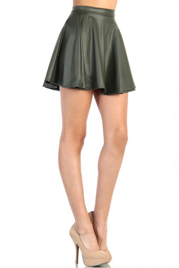 LoveMelrose.com From Harry & Molly | Leather Look Skater Skirt - Green