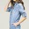 Line denim vintage buttoned denim shirt dress