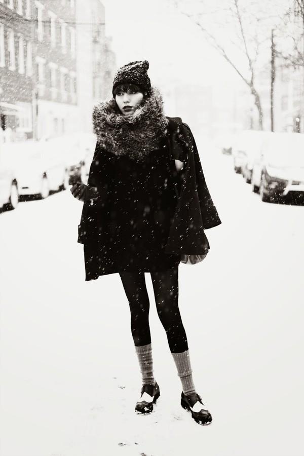 natalie off duty scarf coat shoes hat bag apc