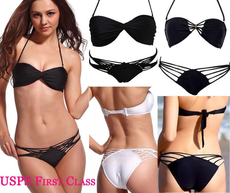 2pcs Sexy Womens Black Top Bottom Bikini Padded Push Up Swimwear Bathing Suit | eBay