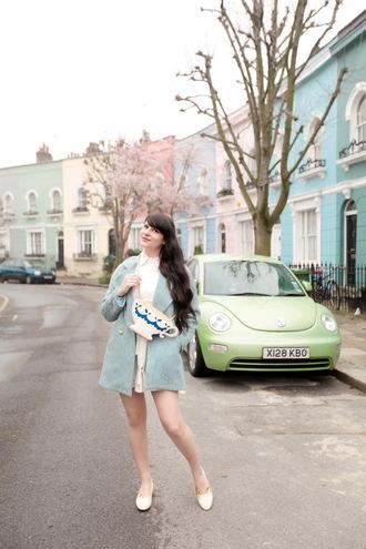 the cherry blossom girl blogger coat dress shoes bag hat blue coat